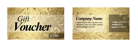 Premium golden gift voucher card print template - front and back layout design Stok Fotoğraf - 120208155