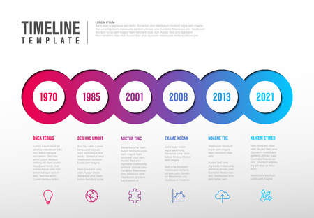 Vector Infographic Company Milestones Timeline Template with circles, text placeholders and icons