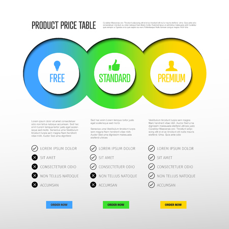 Product price table template with three options and modern colors on a light background