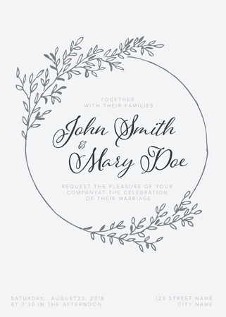 Vector light wedding invitation card template with leafs and branches