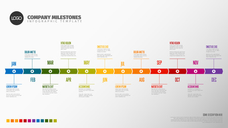 Plantilla de línea de tiempo de año completo con todos los meses en una línea de tiempo horizontal
