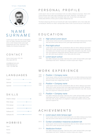 Vector minimalist cv  resume template with blue accent and nice typogrgaphy design