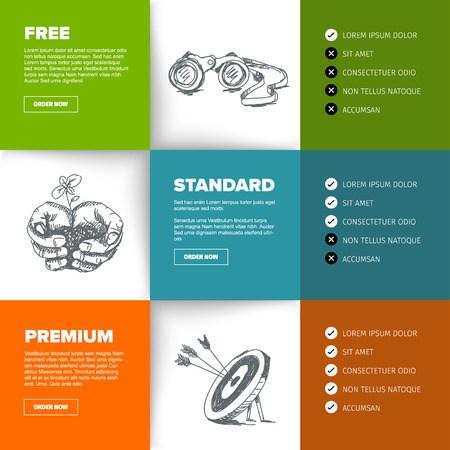Product / service price comparison table with content squares and nice illustration Vettoriali