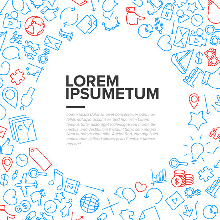 Communication flyer template made from icons and pictograms