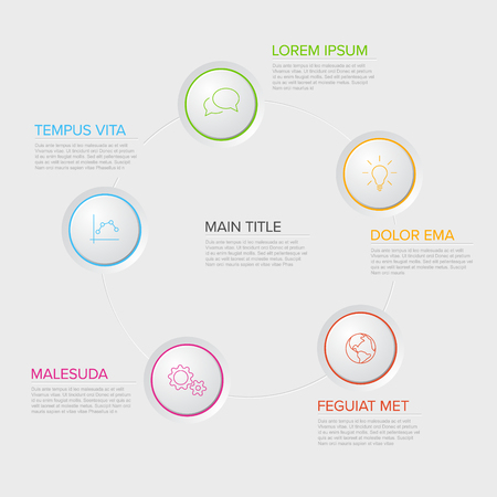 Five circles diagram template with color circle buttons - multipurpose infographic