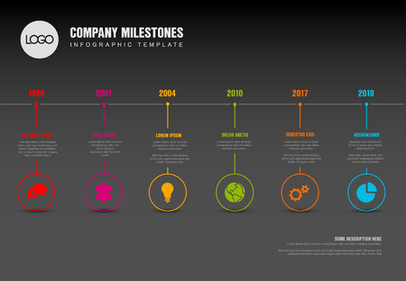 Vector Infographic Company Milestones Timeline Template with pointers on a straight horizontal time line - dark version Çizim