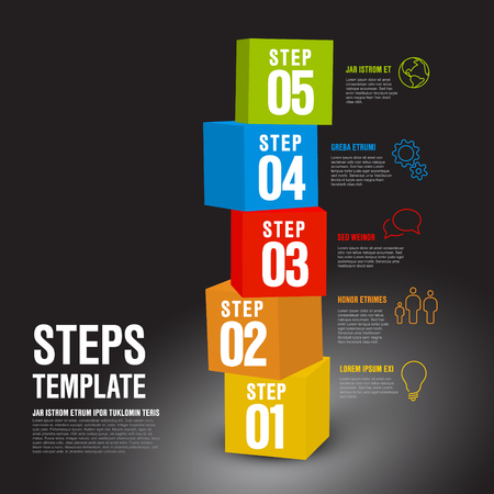Vector five steps progress infographic vertical template made from colorful cubes and icons - dark version Çizim