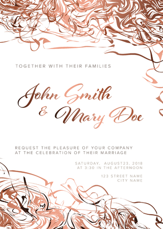 Vector pink wedding invitation template with abstract borders