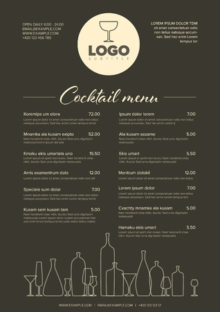 Modern dark brown minimalistic cocktail menu template with two columns design layout and nice typography
