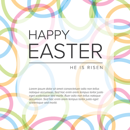 Modern minimalist colorful happy easter card template with color eggs background pattern Çizim