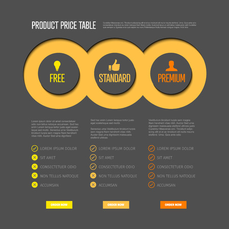 Product price table template with three options and modern yellow colors on a light background
