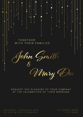 Vector Wedding invitation template with golden light chains