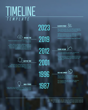 Vector Infographic timeline template with big year numbers, icons, description and the corporate photo in the background