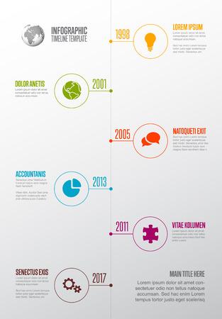 Vector Infographic Company Milestones Timeline Template mit Kreissymbolzeigern auf einer geraden vertikalen Zeitlinie