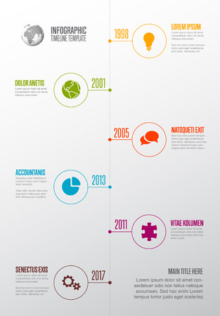 Vector Infographic Company Milestones Timeline Template with circle icon pointers on a straight vertical time line