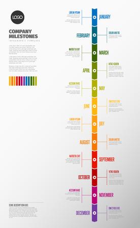 Plantilla de línea de tiempo de año completo con todos los meses en una línea de tiempo vertical