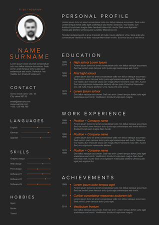Vector minimalist cv / resume template with blue accent and nice typogrgaphy design - dark red version