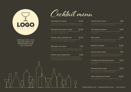 Modern dark brown minimalistic cocktail menu template with two columns horizontal design layout and nice typography Vector Illustratie