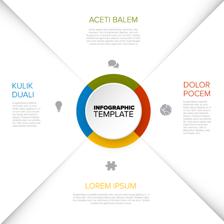 Four options diagram template with color circle in the middle - multipurpose universal infographic template Illustration