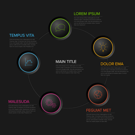 Five circles diagram template with color circle buttons - multipurpose dark infographic Illustration