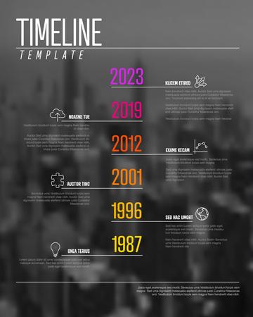 Plantilla de línea de tiempo de infografía vectorial con números de año grande, iconos, descripción y la foto corporativa en el fondo Ilustración de vector