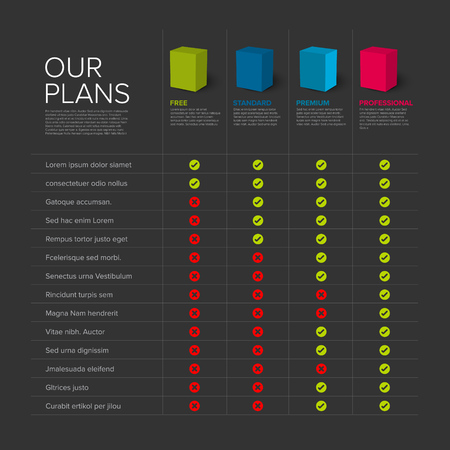 Products features list table template with products or services boxes, options, description, features - dark version