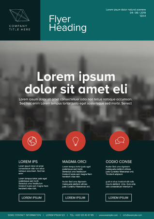 Modern business corporate brochure flyer design vector template with photo and sample content - teal and red accent