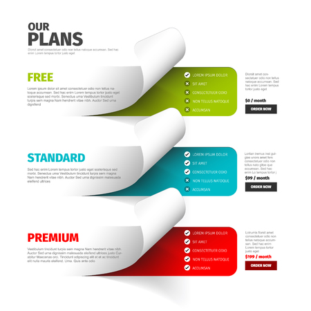 Product  service subscription price plan comparison overview table with descriptions