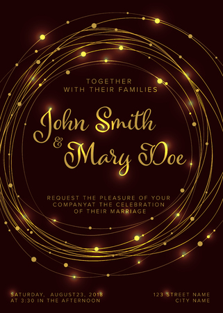 Vector golden wedding invitation template with light circle chains on a dark background