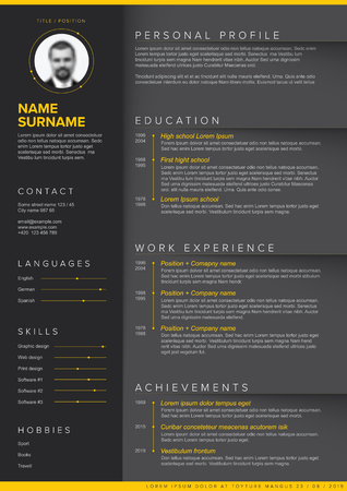 Vector dark minimalist cv  resume template with yellow accent and nice typogrgaphy design