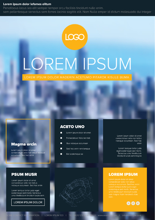 Modern business corporate brochure flyer design vector template with photo and sample content - yellow accent
