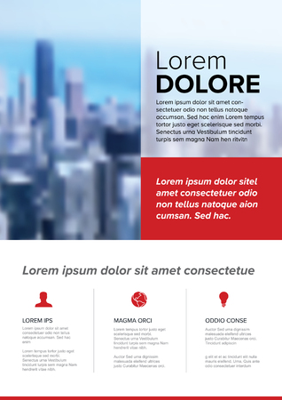 Modern business corporate brochure flyer design vector template with photo, red accent and sample content