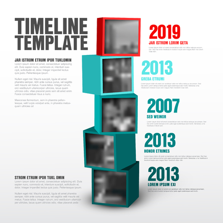 Vector timeline template made from cubes with photos