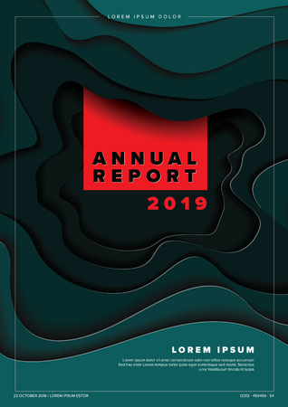Vector abstract annual report cover template with sample text and abstract paper cut background - teal and red version Çizim