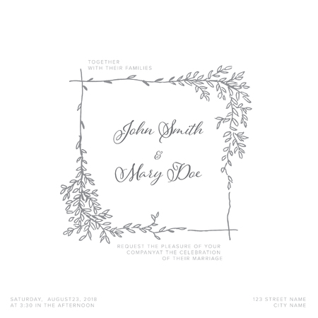 Vector blue silver wedding invitation template with leafs and branches Çizim