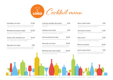 Modern colorful minimalistic cocktail menu template with three columns horizontal design layout and nice typography