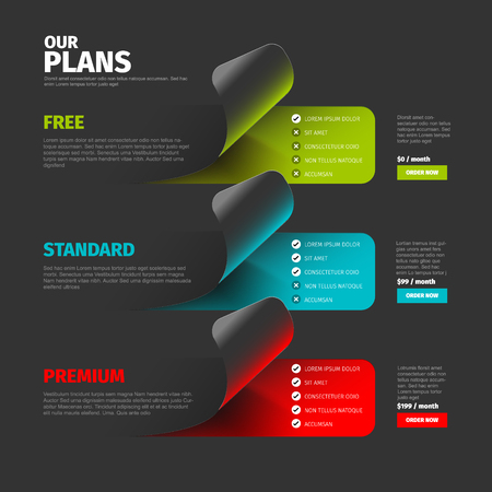 Product / service subscription price plan comparison overview table with descriptions - dark version