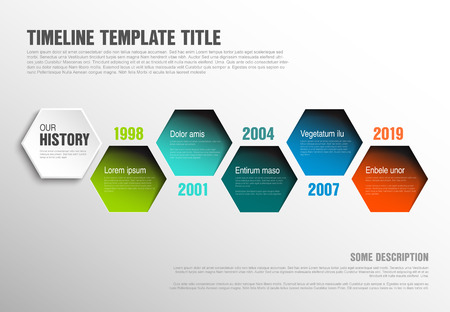 Vector Infographic timeline template made from color hexagons with text content - light version