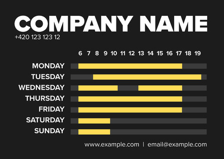 Shop opening time hours vector template with highlighted open hours - dark version Çizim