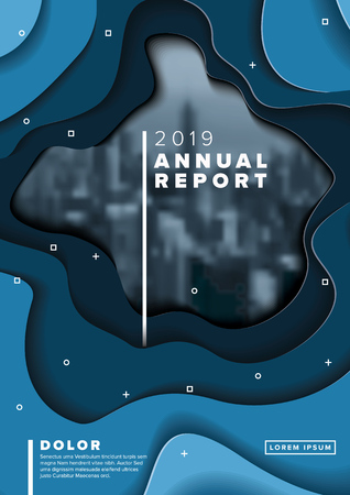 Vector abstract annual report cover template with sample text and abstract paper cut background - blue version with photo