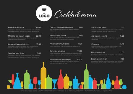Modern colorful minimalistic cocktail menu template with three columns horizontal design layout and nice typography - dark version Çizim