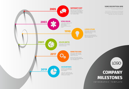 Evolution timeline template with spiral model and icons - light horizontal version