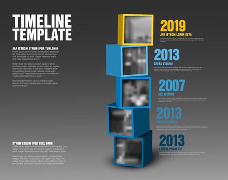 Plantilla de línea de tiempo de vector hecha de cubos amarillos y azules con fotos - versión oscura