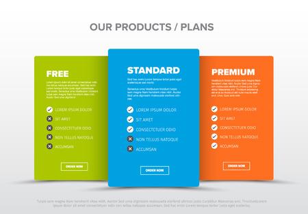 세 가지 서비스, 기능 목록, 주문 버튼 및 설명이 있는 제품 기능 스키마 템플릿 카드 벡터 (일러스트)