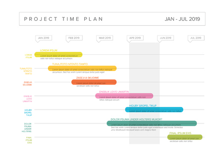 Vector project timeline graph - gantt progress chart with highlighet project tasks in time intervals