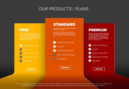 Product features schema template cards with three services, feature lists, order buttons and descriptions - dark yellow, orange and red version Çizim