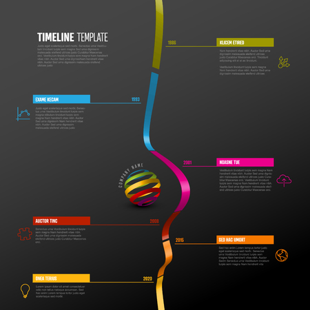 Vector Infographic vertical timeline report template with 3d colored stripe graph, icons and descriptions - dark background version Çizim