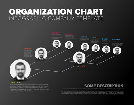 Minimalist company organization hierarchy 3d chart template - dark gray version with photos