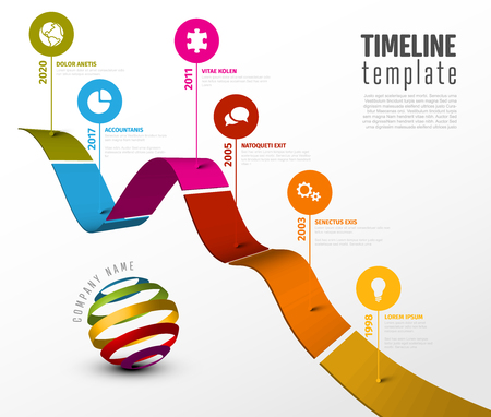 Vector Infographic diagonal timeline report template with 3d colored stripe graph, icons and descriptions Çizim
