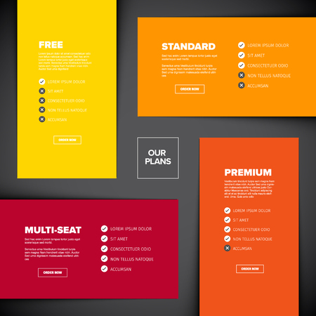 Product features schema template cards with four services, feature lists, order buttons and descriptions - dark background version Çizim